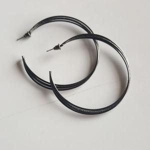 Jewelry - Dark Silver Twisted hoop earrings
